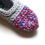 Crocheted Slippers in Grey ..
