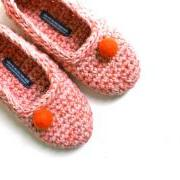 Crochet Slippers for Women, House Shoes in Salmon Pink Coral Orange Felt Ball