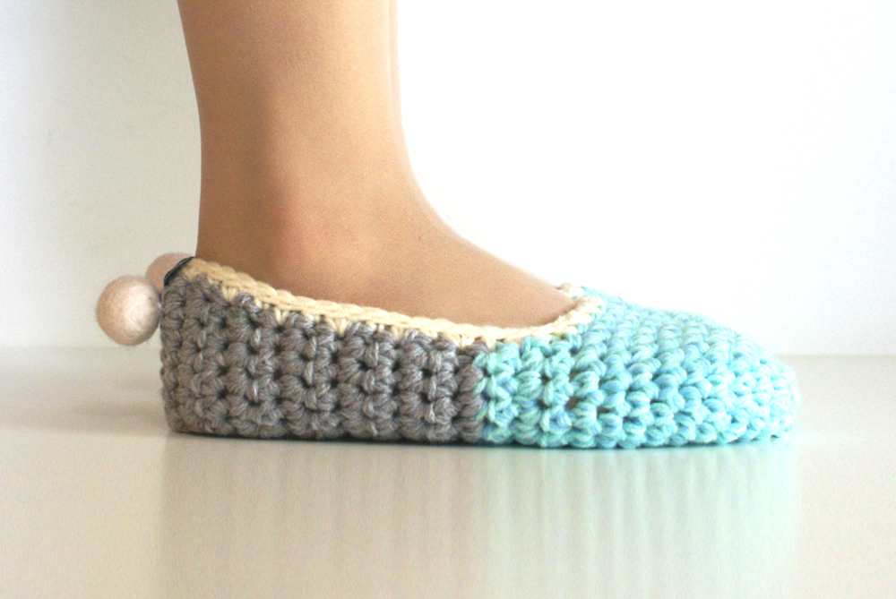 Crochet House Slippers with Felt Pom Pom, Mint Grey