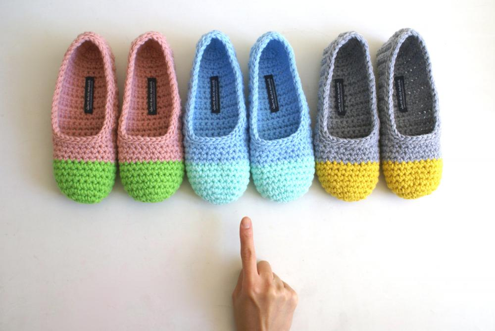 Crochet Slippers for Women in Mint & Sky Blue