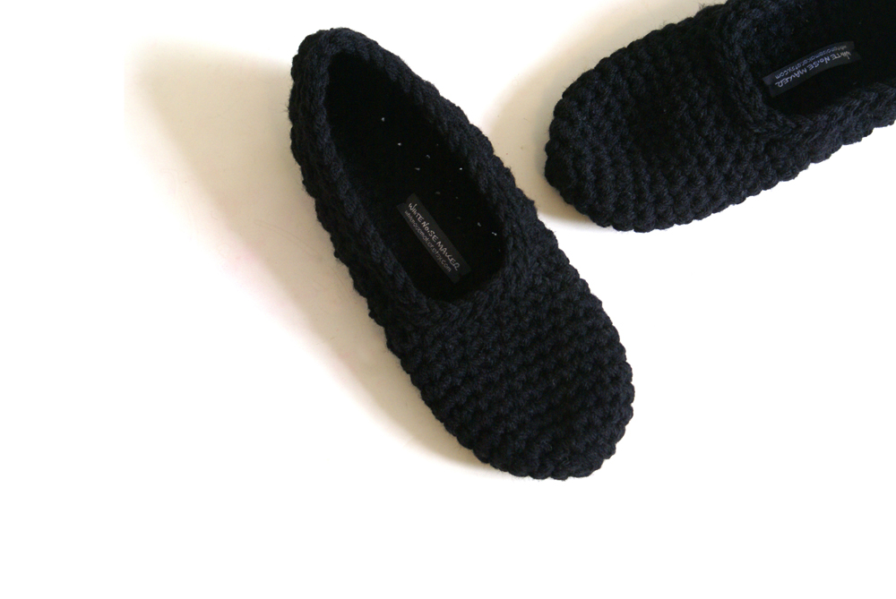 Crochet Slippers for Women in Black
