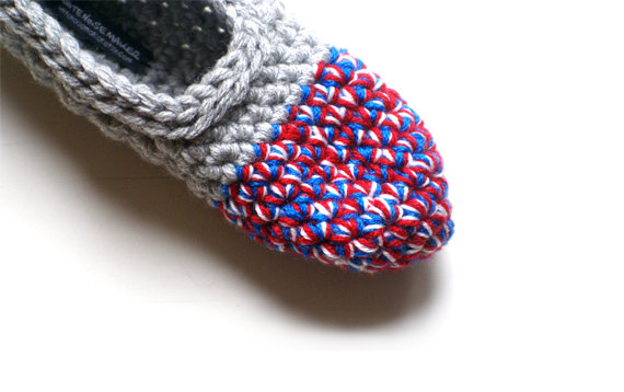 Crocheted Slippers in Grey & Red Blue White