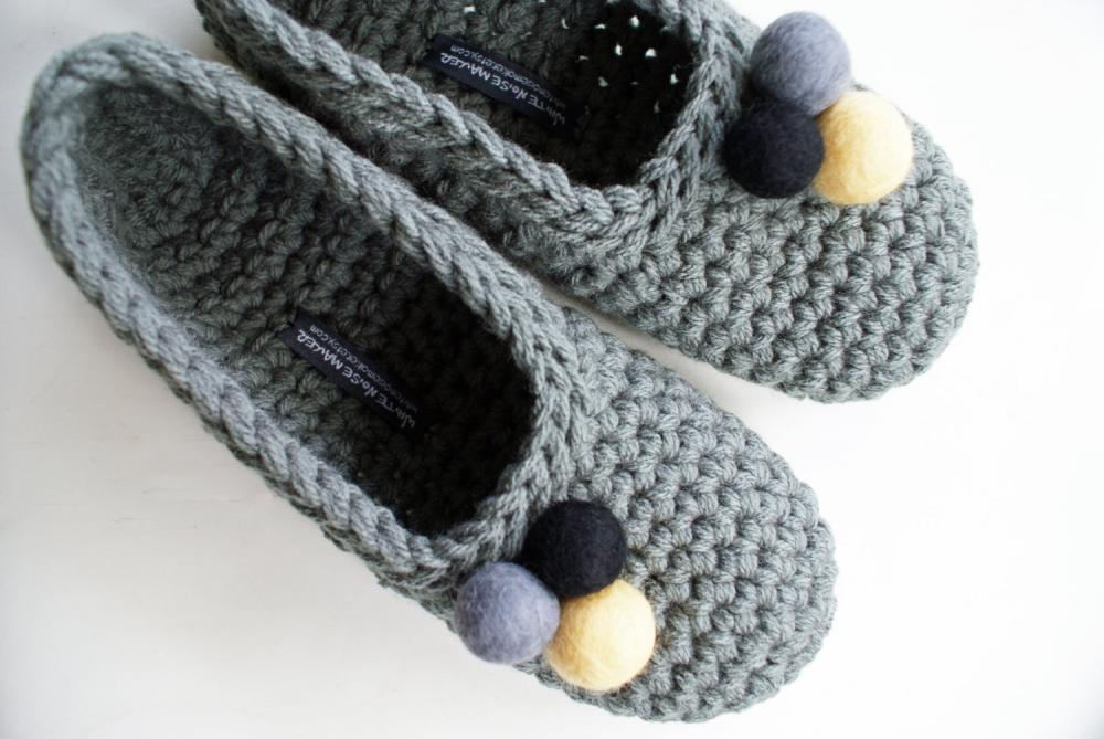 Grey Crochet Slippers With Felt Balls for Women