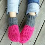 Pink Crochet Slippers with Grey Hand knitted Bootleg