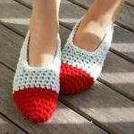 Women's Crochet Slippers, House Shoes in Red & Baby blue, Slippers Socks, Ballet Shoes, Flats