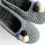Grey Crochet Slippers With ..