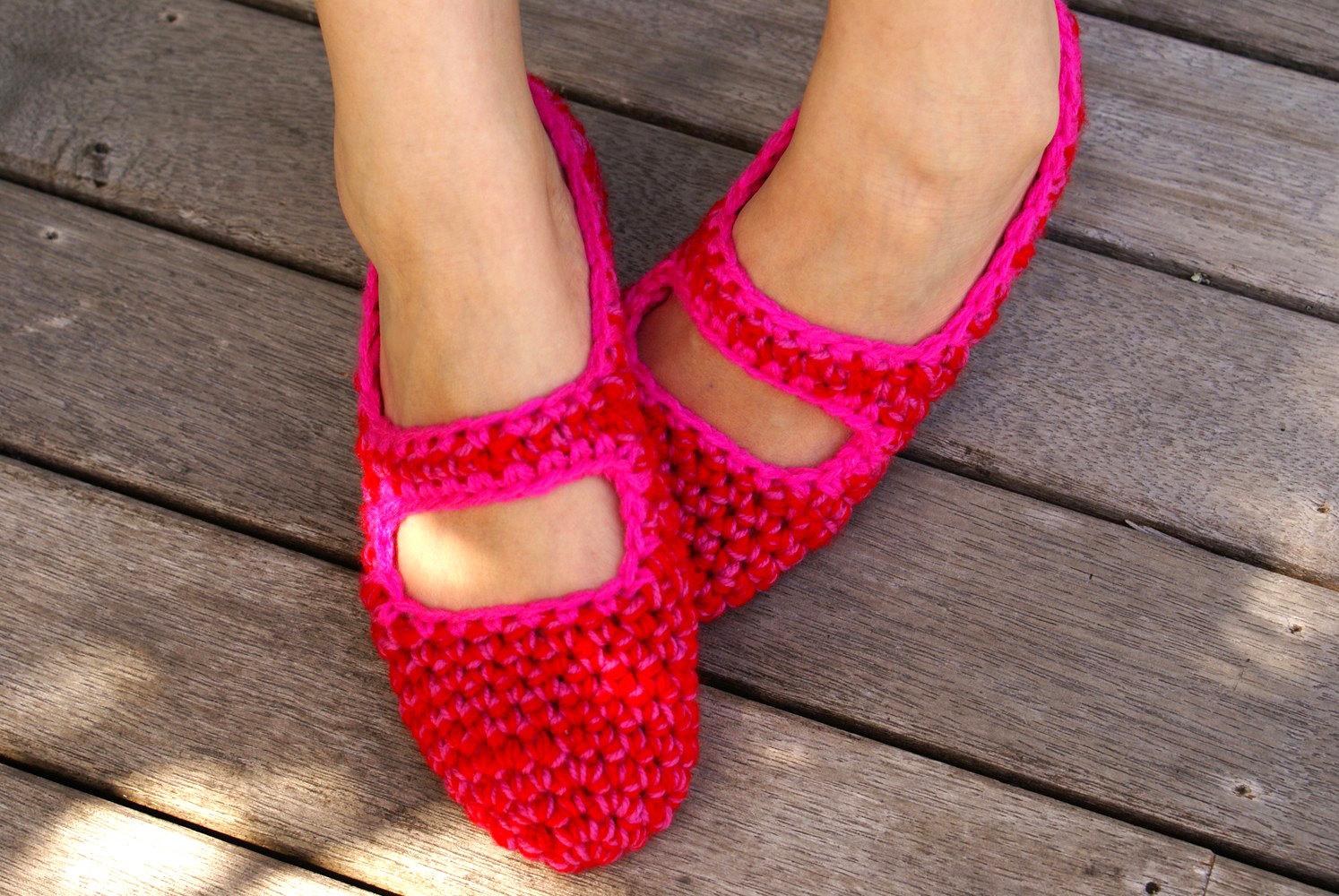 Crochet Mary Jane House Slippers, Women s, House Shoes, Slipper Socks